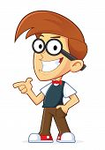 image of guns  - Clipart Picture of a Nerd Geek Cartoon Character with Gun Finger Gesture - JPG