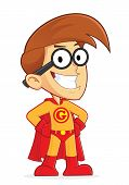 stock photo of dork  - Clipart Picture of a Superhero Nerd Geek Cartoon Character - JPG