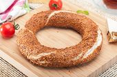 picture of bagel  - Close up of a traditional Turkish bagel  - JPG