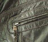 pic of bomber jacket  - Close up of brown leather jacket
