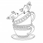 stock photo of recipe card  - Card with tea cups and art birds in sketch style - JPG