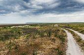stock photo of steppes  - The steppe road to the sea - JPG