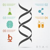 stock photo of biotechnology  - infographic template with DNA structure and icons research development science and biotechnology concept - JPG