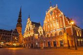 picture of reconstruction  - Famous House of Blackheads on the Town Square in Riga with a Church of St - JPG