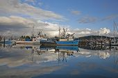 foto of fleet  - Fishing fleet in Bellingham harbor with beautiful clouds and reflections - JPG