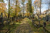 stock photo of urn funeral  - A very old cemetery photographed in autumn - JPG