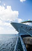 picture of cruise ship caribbean  - Luxury Cruise Ship Anchored Under Nice Skies at Harbor on St Croix - JPG