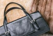 image of mink  - A black leather bag of warm blond sheepskin blue fox and red sable mink furs - JPG