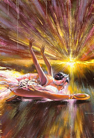 stock photo of tchaikovsky  - The ballerina soaring against the coming sun - JPG