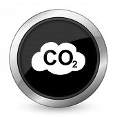 stock photo of carbon-dioxide  - carbon dioxide black icon co2 sign  - JPG