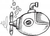 stock photo of sketch  - Doodle Sketch Submarine Vector Illustration Art - JPG