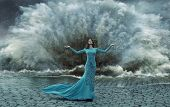 pic of storms  - Fashionable lady on the sea storm - JPG
