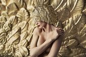 image of fine art portrait  - Fine art photo of a lady in gold - JPG