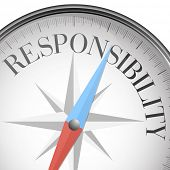 picture of responsible  - detailed illustration of a compass with responsibility text - JPG