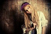 picture of dreadlocks  - Modern teenage girl with blonde dreadlocks - JPG