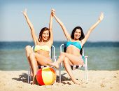 picture of sunbather  - summer holidays and vacation  - JPG