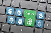 image of green-blue  - Blue and green easter egg on keyboard - JPG