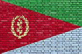 pic of eritrea  - flag of Eritrea painted on brick wall - JPG