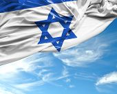 foto of israeli flag  - Israeli waving flag on a beautiful day - JPG