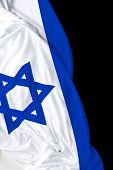 pic of israeli flag  - Israeli waving flag on black background - JPG