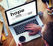 image of hope  - Businessman Digital Dictionary Hope Faith Pray Concept - JPG