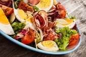 image of smoked ham  - Boiled eggs with smoked ham and vegetables - JPG