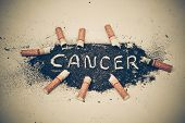 foto of anti-cancer  - cigarette ash with a text saying cancer - JPG