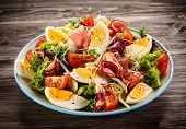 foto of smoked ham  - Boiled eggs with smoked ham and vegetables - JPG