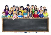 stock photo of little kids  - Diversity Friendship Group of Kids Education Blackboard Concept - JPG