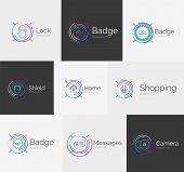 stock photo of neat  - Thin line neat design logo colletion  - JPG
