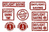 picture of daylight-saving  - Daylight saving time grunge style ink stamps - JPG