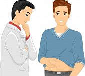 image of flabby  - Illustration of a Man Showing His Flabby Belly to His Cosmetic Surgeon - JPG