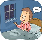 picture of unawares  - Illustration of a Man Muttering Words While Asleep - JPG
