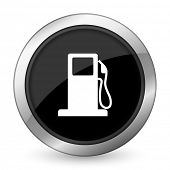 stock photo of petrol  - petrol black icon gas station sign  - JPG