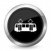 picture of tram  - tram black icon public transport sign  - JPG