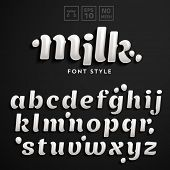 picture of sugar paste  - Vector latin alphabet made of milk - JPG