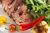stock photo of rocket salad  - Roast Beef with Vegetables and Rocket Salad - JPG