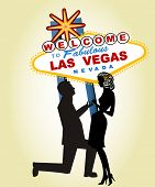 stock photo of propose  -  Proposal at Famous Las Vegas Sign  - JPG