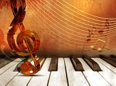 picture of key  - Music background with piano keys and music notes - JPG