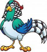 foto of pheasant  - Cartoon Lady pheasant - JPG