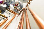 foto of boiler  - copper pipes engineering in boiler - JPG