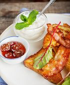 image of french toast  - French toast with bacon for breakfast. selective Focus ** Note: Shallow depth of field - JPG