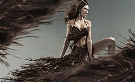 image of hair motion  - Young woman wearing dress made of hair - JPG