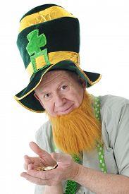 stock photo of irish  - Closeup image of a bearded Irish man in a tall Irish hat happy with his hands full of Irish gold - JPG