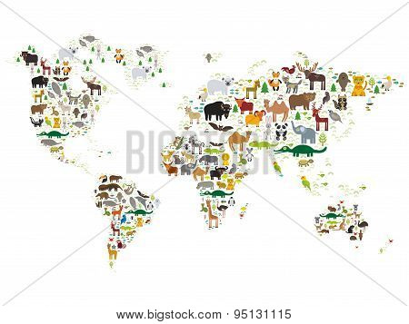 Cartoon animal world map for children and kids animals from all cartoon animal world map for children and kids animals from all over the world on white background vector illustration poster id 95131115 gumiabroncs Image collections