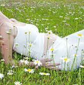 image of pregnant woman  - young nice pregnat woman on green meadow - JPG