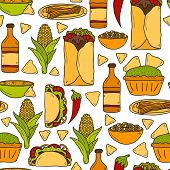 picture of nachos  - Seamless background with cute cartoon hand drawn objects on mexican food theme - JPG