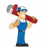 picture of plumber  - Clipart picture of a plumber cartoon character holding a huge pipe wrench - JPG