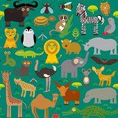 pic of hippopotamus  - Seamless pattern Animal Africa parrot Hyena Rhinoceros Zebra Hippopotamus Crocodile Turtle Elephant snake camel tsetse ostrich lemur Chameleon Monkey Fennec fox Leo Leopard Giraffe buffalo Penguin - JPG