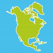 foto of continent  - North America Map Green continent on blue background - JPG